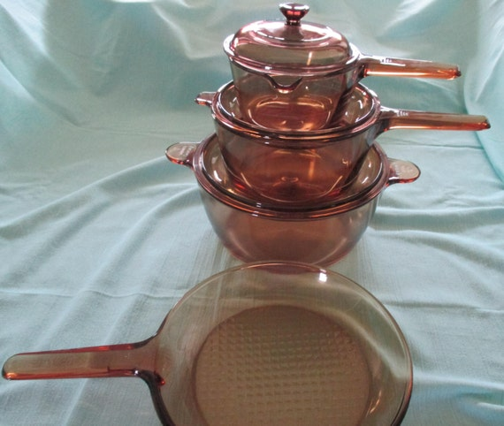 Vintage 7 Piece Set Of Visions Cookware By Corning Ware In