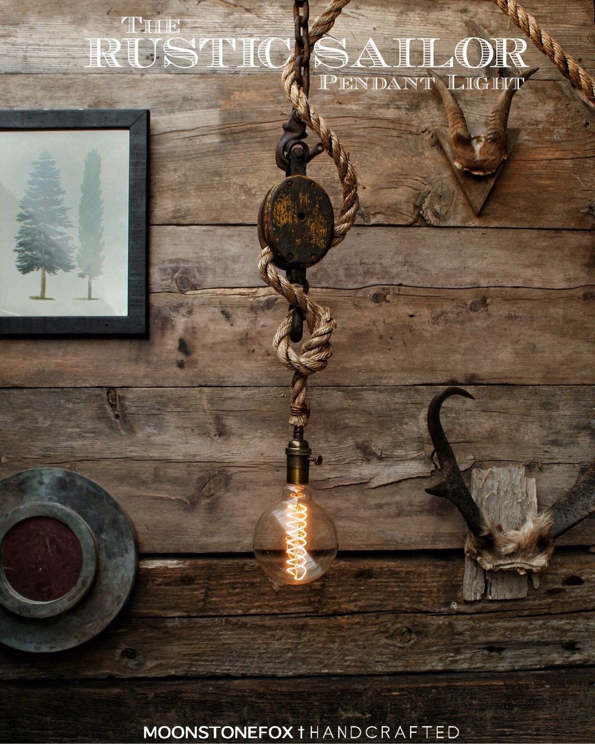 The Rustic Sailor Pulley Pendant Light Wooden Pulley By