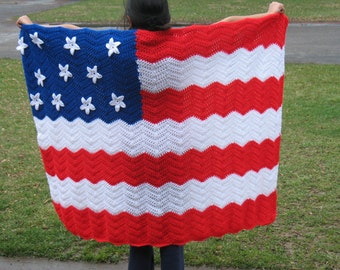 Crochet American flag Afghan with Free shipping