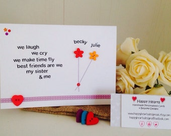 Sister Poem Personalised Handmade Cards -Personalised Sister Birthday Cards - Best Friend Sister Cards - Sister Quote Cards