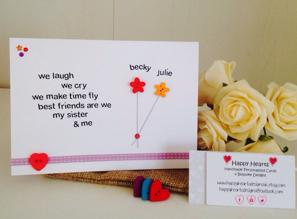 Sister Poem Personalised Handmade Cards Personalised Sister