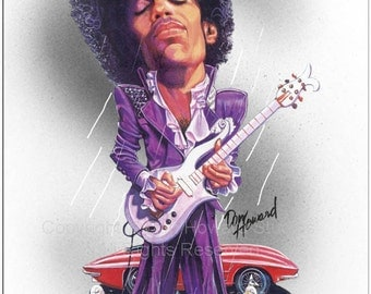 Don Howard's Depiction of Prince Limited Edition Celebrity Caricature Art Print