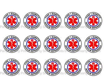 "Diabetic 1 Inch Round - Digital Download - Bottle Cap - Sticker - Bows - Diabetic - 4"" x 6"" Sheet"