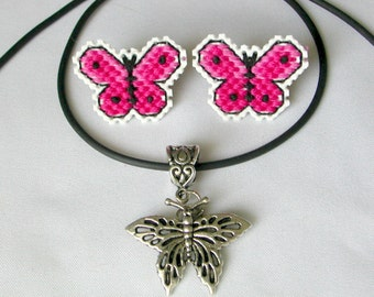 Butterfly Plastic Canvas Earrings - Your Choice Color