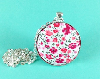 Floral Mother's Day necklace - pink ditsy flower necklace - Liberty fabric - pretty silver plated pendant - gift for mum, mom