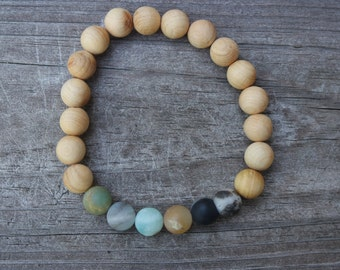 Sandalwood Amazonite Bracelet - healing, mala, yoga, natural