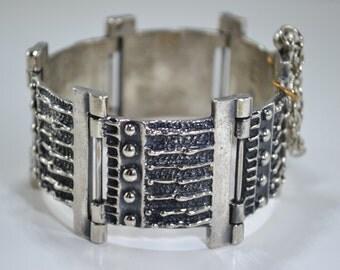 Vintage 1970s Robert Larin Signed Montreal Brutalist Pewter Bracelet