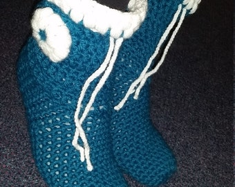 Women Slippers, Blue Crotchet Slippers with draw string, House Shoes,