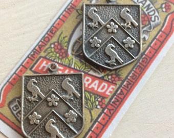 Antiqued silver royal crest shield pendants 2 PC