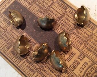 Raw  brass scalloped bead caps 6 pc