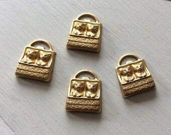 Raw brass kitten in purse charms. 6 pc