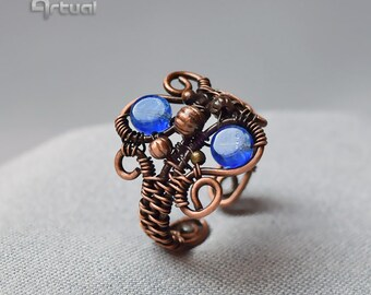 Adjustable statement wire ring, wire jewelry, copper jewelry, wire wrapped ring, gift for women, boho ring, blue ring, birthday gift, tribal