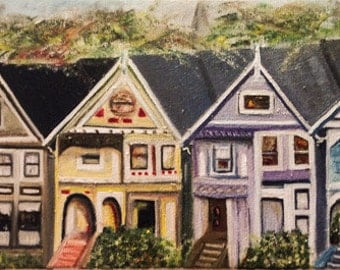 AVENUE --beautiful one of a kind original oil painting, colorful houses ,old city,san francisco