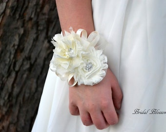Beautiful Soft Ivory Chiffon Flower Wrist Corsage | Wedding Corsage | Mother of the Bride | Bridal Party | Sweet 16 | Rhinestone Pearl