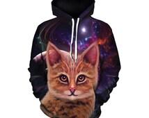 Space Cat - Galaxy Star Art - Kitten Hoodie - Festival Wear - Rave Kitty - Full Print Hoodie