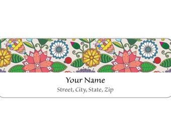 120 Labels - Label M0150 : Pink, Yellow, Green & Blue Flower Pattern Return Address Labels