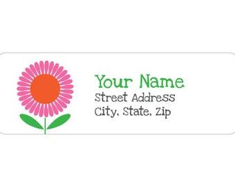 120 Labels - Label M0274 : Pink & Orange Flower Return Address Label