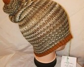 RETRO unique gold and brown colour mix Handmade beanie hat double knit extra thick ski snowboard garden one size unisex wool #retro #gift