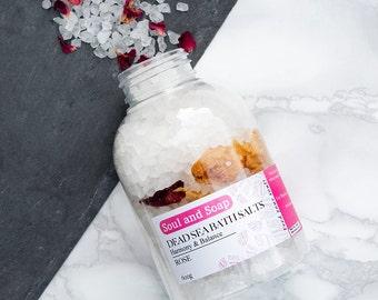 Red Rose Bath Salts - Natural Bath Soak - Pamper Gift - Botanical Bath Soak - Spa Relaxation - Handmade & Natural - Herbal Bath - Vegan