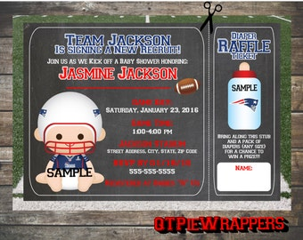 Printable New England Patriots Football Baby Shower Invitations Boy And  Girl Cheerleader Personalized Attached Raffle Ticket