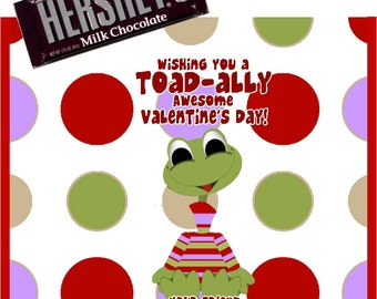 Printable Frog Valentine's Day Candy Bar Wrappers 1.55 oz. Hershey's Milk Chocolate School Treats
