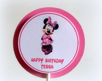 12pcs Minnie Mouse CUSTOM CUPCAKE TOPPERS in pink