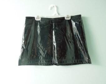 90s Vinyl Shiny Goth Mini Skirt
