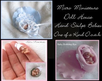 OOAK Micro Miniature Doll House 1/12 Scale Hand Sculpted CUSTOM Baby Art Doll,  * Made To Order*  By Artist Nancy
