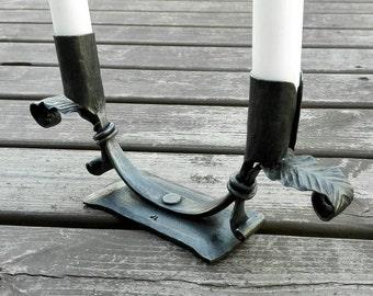 Candlestick holder, candle holder, hand forged