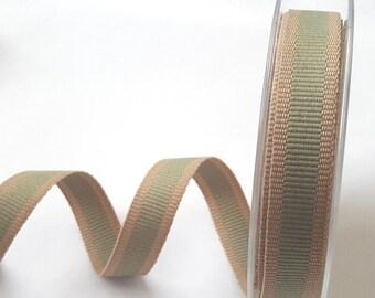 Sage Green Oatmeal Stripe 15mm Woven Ribbon *Sold Per Metre*