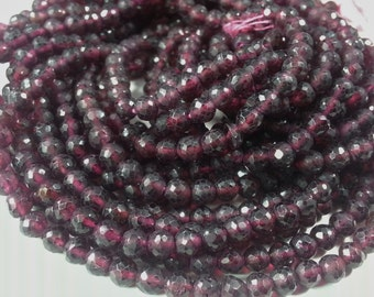 4 mm Garnet Faceted Rondelle's , 13 inches