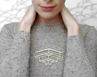 CLAUDE_Geometric Art Deco style statement necklace