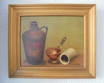 Vintage Dutch oil painting /l.schuitman/still life/gold frame