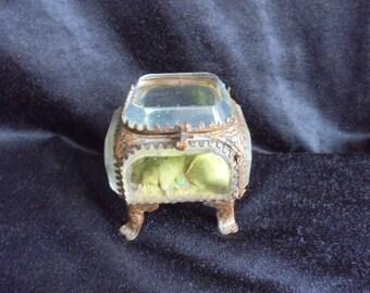 French vintage glass jewelry display case/ormolu glass/wedd/jewelery cabineting ring casket//decoration box/pocket  watch casket french chic