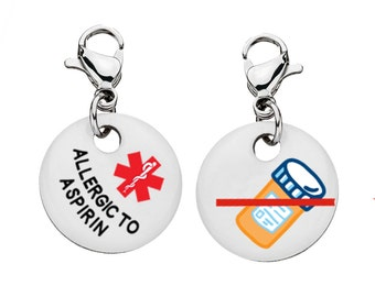 Aspirin Allergy Medical Alert Bracelet Charm - Medium - 3