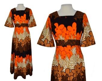 Vintage Dress, 1960s Dress, 60s Maxi Dress, Vintage Hawaiian, Barkcloth Hawaiian Dress, Tiki Dress, Luau Dress, Hawaiian Wedding Set, Medium
