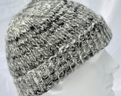 Handspun Alpaca Winter Hat -- hand knit from gray alpaca fiber with black and white highlights. Warm. Toque, beanie, watch cap, ski hat