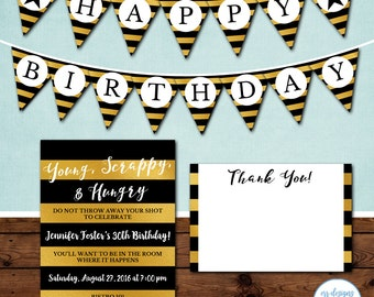 Hamilton Inspired Party Package, Hamilton the Musical, Hamilton Birthday Party Invitation