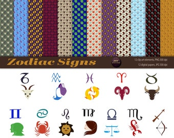 Zodiac Signs Clip Art and Digital Papers | Premade Pages | Premade Images | Instant Download