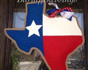 Hand-Painted Burlap Texas Flag Door Hanger