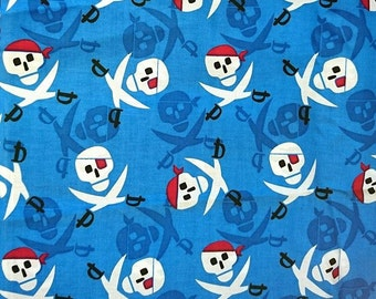 """100% cotton, fabric pirates, skulls, 100cm (1 m) (39 """")"""