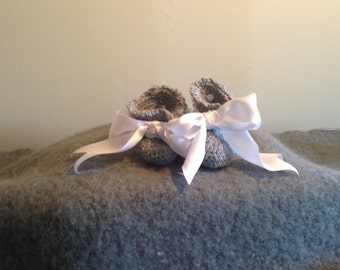 Soft Gray Crochet Baby Booties with White Satin Ribbon