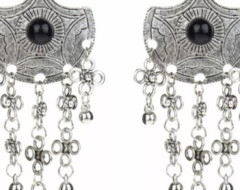 Tibetan Silver Long Chandelier Dangling Earrings