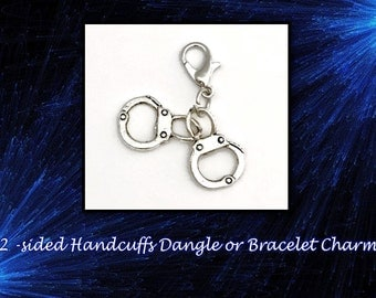 SALE! Cute Set of Handcuffs Dangle or Bracelet Charm. Handcuffs are 2-Sided.