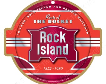 Rock Island Railroad Logo Wood Plaque / Sign