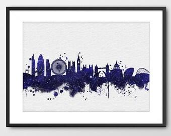 London Skyline, London Print Navy Blue Stars Sky Art, London Watercolor, London Blue London Cityscape, Print England Print (A090WP_S)