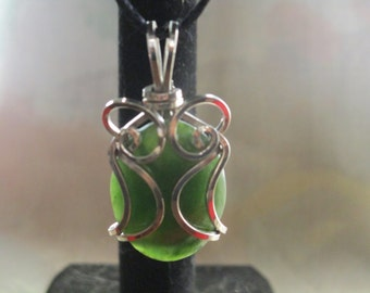 Beautiful Handmade Sterling Silver and Jade Pendant