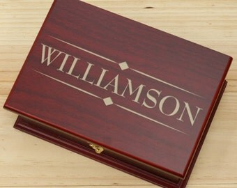 Engraved Rosewood Tea Box, Engraved Tea Box, Family Name Tea  Box