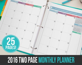 2016 Modern Two Page Monthly Planner - Instant Download! 25 pages in PDF format ready to print at home!