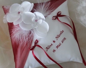 Embroidered, white (or ivory) wedding ring cushion orchids and Burgundy